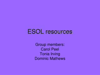 ESOL resources