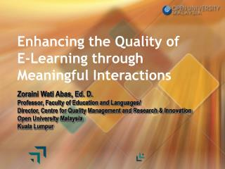 Enhancing the Quality of E-Learning through Meaningful Interactions