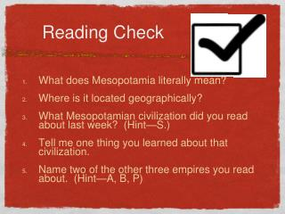Reading Check