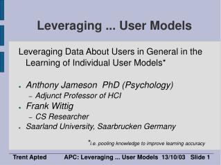 Leveraging ... User Models