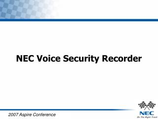 NEC Voice Security Recorder