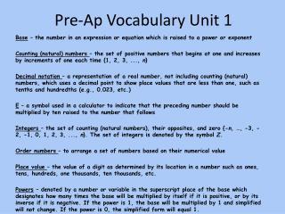 Pre-Ap Vocabulary Unit 1