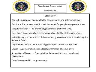 Branches of Government Study Guide