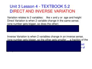 Unit 3 Lesson 4 - TEXTBOOK 5.2 D IRECT AND INVERSE VARIATION