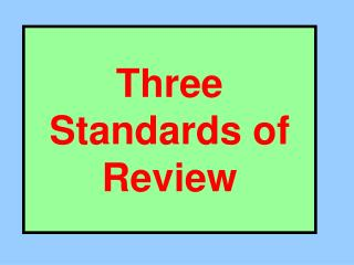 Three Standards of Review