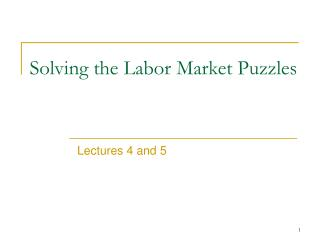 Solving the L abor Market Puzzles