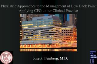 Physiatric Approaches to the Management of Low Back Pain: Applying CPG to our Clinical Practice