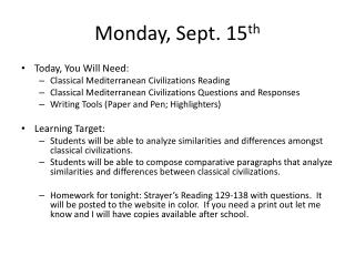 Monday, Sept. 15 th