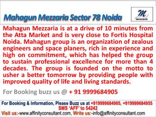 Mahagun Mezzaria apartments Sector 78 Noida @ 09999684905