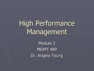 High Performance Management