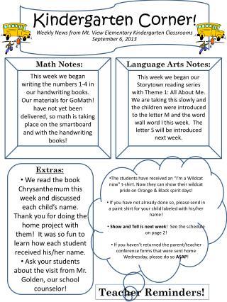 Kindergarten  C orner! Weekly News from Mt. View Elementary Kindergarten Classrooms