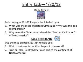 Entry  Task—4/30/13