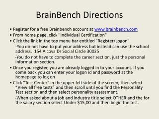 BrainBench  Directions