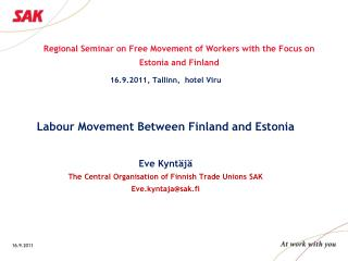 Regional Seminar on Free Movement of Workers with the Focus on Estonia and Finland