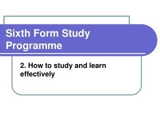 Sixth Form Study Programme