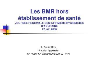 Les BMR hors  tablissement de sant  JOURNEE REGIONALE DES INFIRMIERS HYGIENISTES DAQUITAINE 22 juin 2006