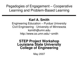 Pegadogies of Engagement – Cooperative Learning and Problem-Based Learning
