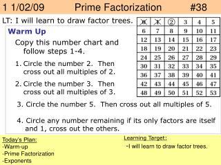 1 1/02/09     Prime Factorization  #38