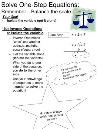Solve One-Step Equations: Remember—Balance the scale