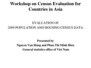Workshop on Census Evaluation for Countries in Asia