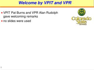 Welcome by VPIT and VPR