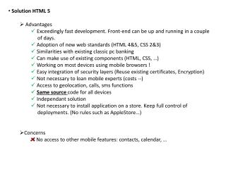 Solution HTML 5  Advantages