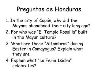 Preguntas de Honduras