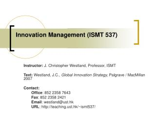 Innovation Management (ISMT 537)