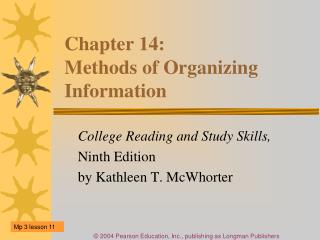 Chapter 14:  Methods of Organizing Information