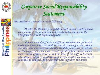Corporate Social Responsibility Statement
