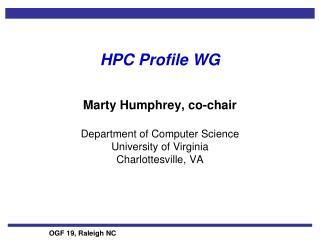 HPC Profile WG