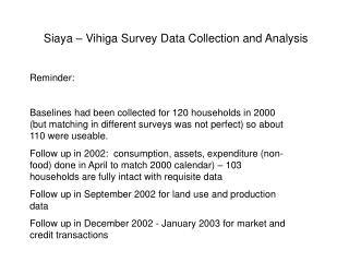Siaya – Vihiga Survey Data Collection and Analysis