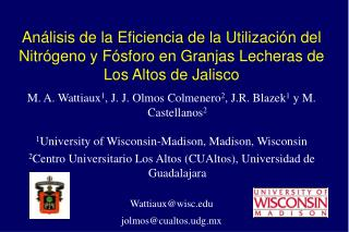 M. A. Wattiaux 1 , J. J. Olmos Colmenero 2 , J.R. Blazek 1  y M. Castellanos 2