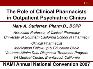The Role of Clinical Pharmacists  in Outpatient Psychiatric Clinics