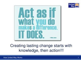 Creating lasting change starts with knowledge, then action!!!