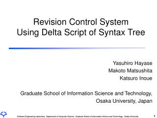 Revision Control System Using Delta Script of Syntax Tree