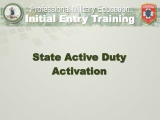 State Active Duty Activation