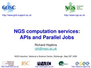 NGS computation services: APIs and Parallel Jobs
