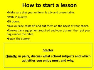 How to start a lesson