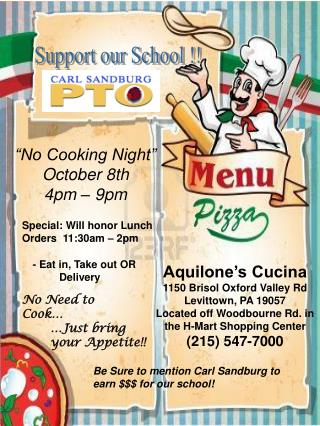 Aquilone's Cucina 1150 Brisol Oxford Valley Rd Levittown, PA 19057