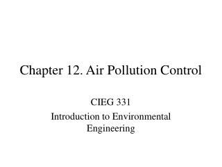 Chapter 12. Air Pollution Control