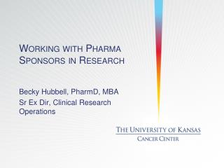 Working with Pharma Sponsors in Research