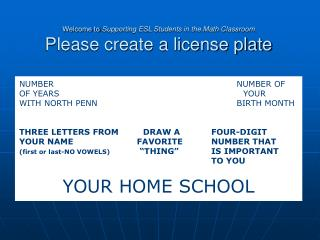 Welcome to  Supporting ESL Students in the Math Classroom Please create a license plate