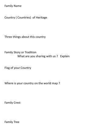 Family Name  Country ( Countries)  of Heritage Three things about this country