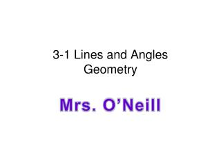 3-1 Lines and Angles Geometry