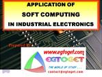 APPLICATION OF  SOFT COMPUTING  IN INDUSTRIAL ELECTRONICS