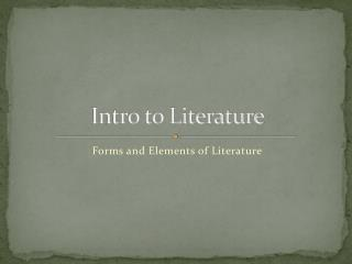 Intro to Literature