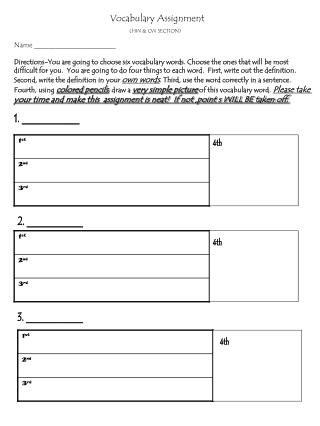 Vocabulary Assignment (HW & CW SECTION)