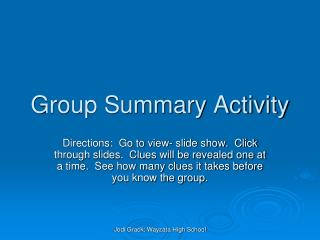 Group Summary Activity