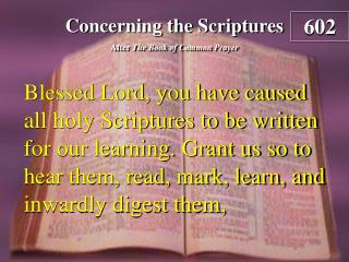 Concerning the Scriptures
